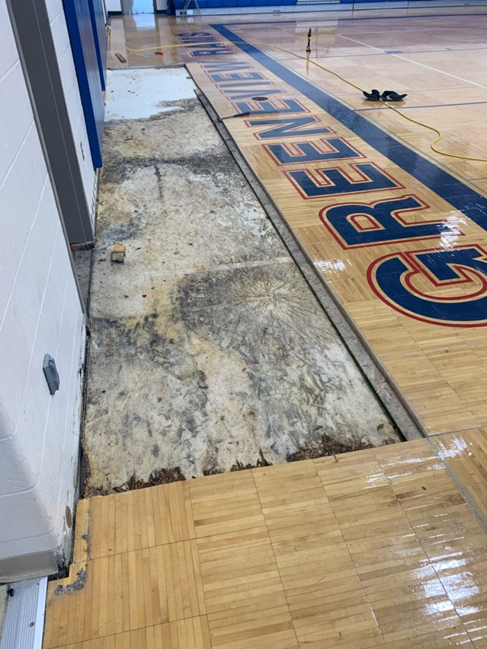 Area of Gym Floor Damage Where water originated from