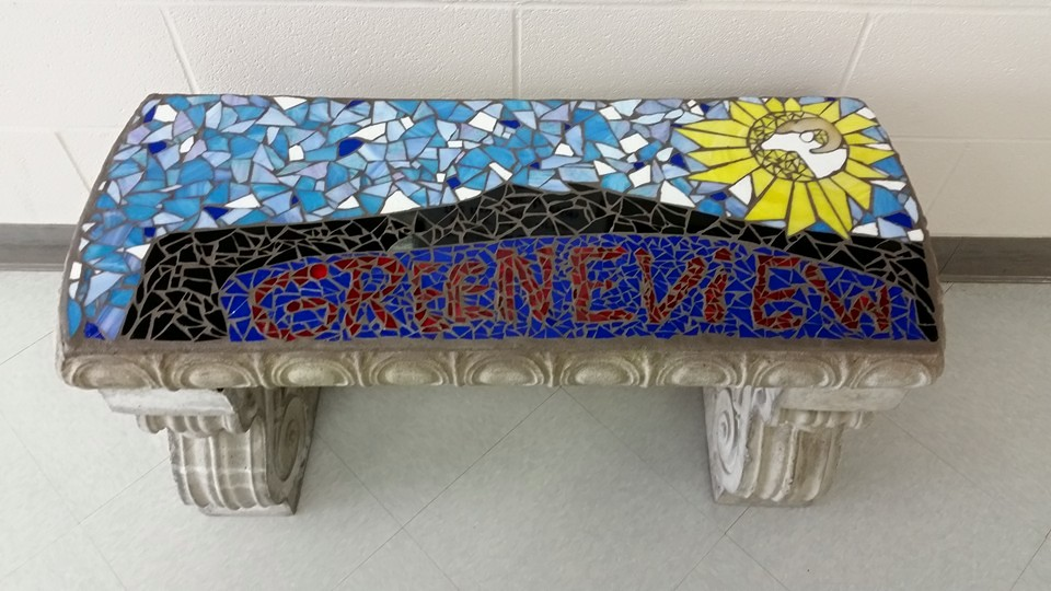 High School Glass Mosaic Park Bench